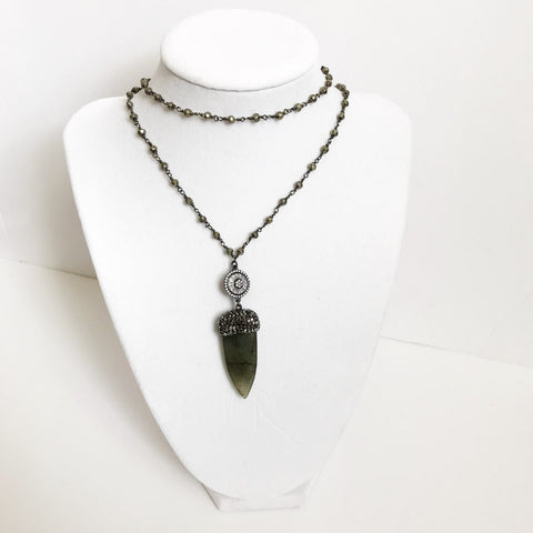 Pyrite Beaded Chain with Pavé Labradorite Dagger Necklace