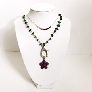 Malachite Beaded Chain with Ruby Flower Pendant Necklace
