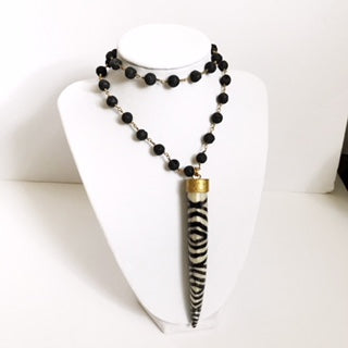 Black Lava Beaded Chain with Zebra Horn Pendant Necklace - Oriana Lamarca LLC