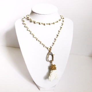 White Magnesite Beaded Chain with White Coral Pendant Necklace - Oriana Lamarca LLC