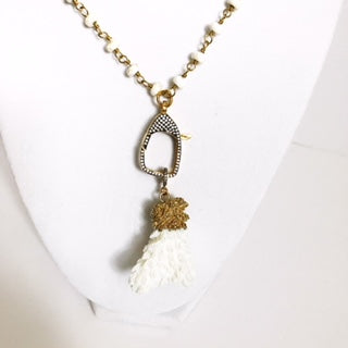 White Magnesite Beaded Chain with White Coral Pendant Necklace