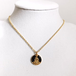 Black Pavé Buddha with Gold Chain Necklace