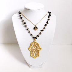 Black Pavé Buddha with Gold Chain Necklace - Oriana Lamarca LLC