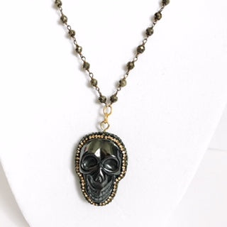 Pyrite Beaded Chain with Pavé Hematite Skull Pendant Necklace - Oriana Lamarca LLC