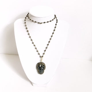Pyrite Beaded Chain with Pavé Hematite Skull Pendant Necklace