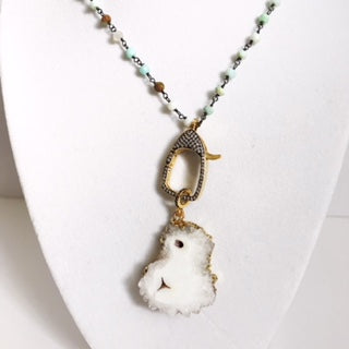 Blue Opal Beaded Chain with Solar Quartz Pendant Necklace