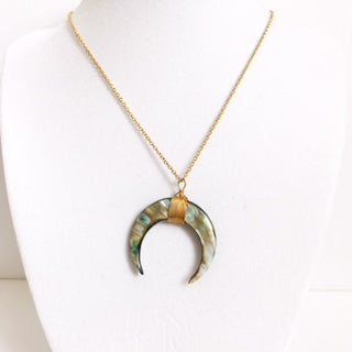 Abalone Crescent Moon Necklace