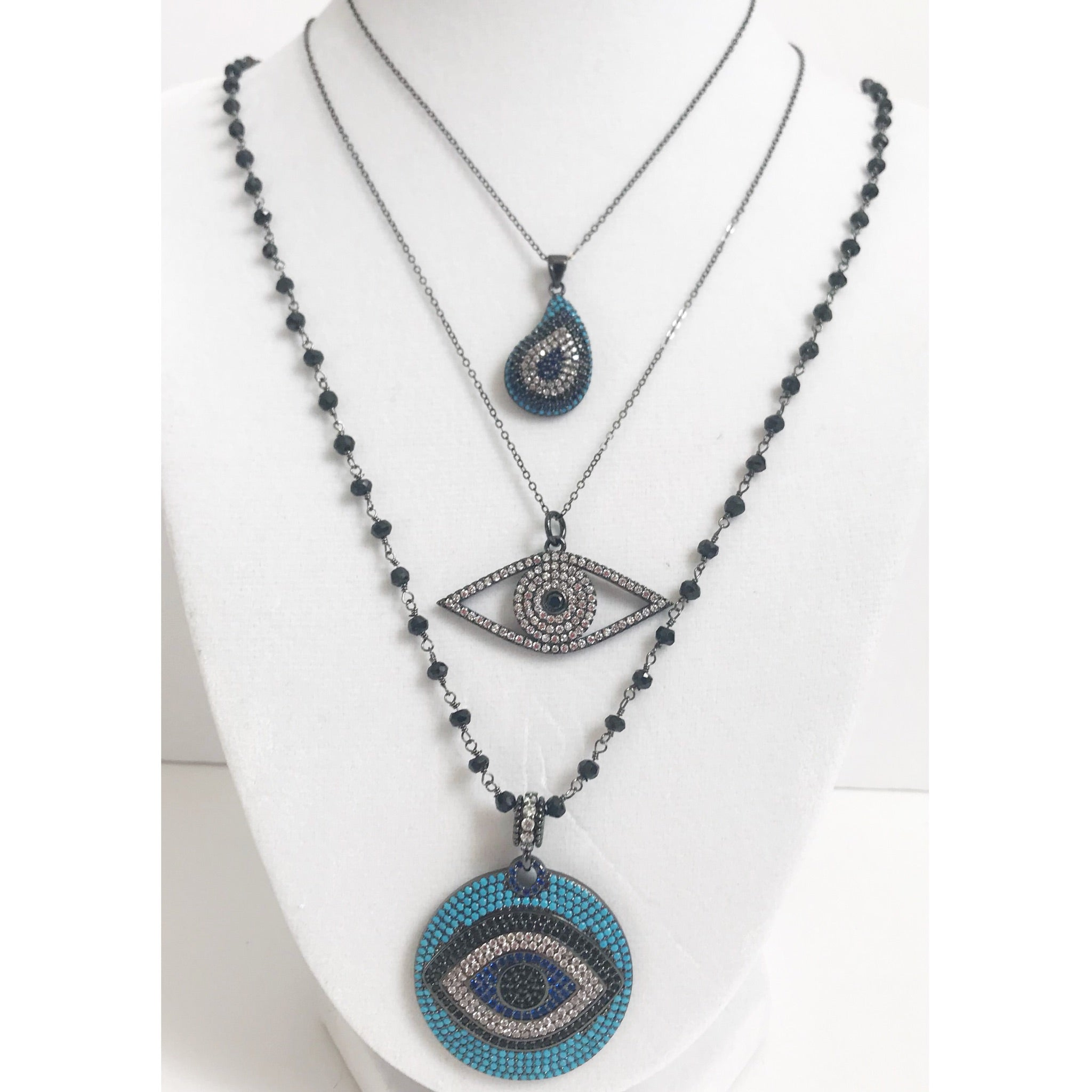 Open Pavé Evil Eye with Black Rhodium Chain Necklace
