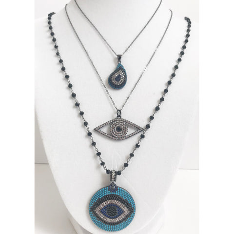 Pavé Gunmetal Open Evil Eye Pendant with Black Rhodium Chain Necklace