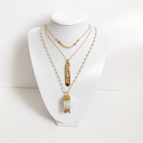 Moonstone Gold Beaded Chain with Citrine Pendant Necklace