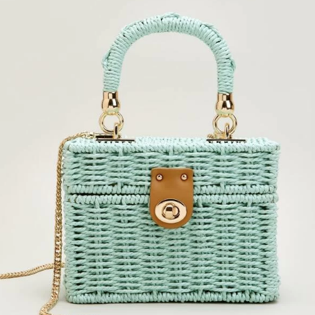 Bella Aqua Straw Hand Bag
