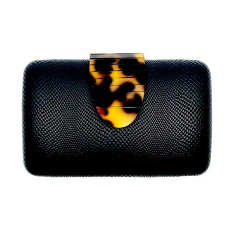 Black Snake with Tortoise Strap Clutch