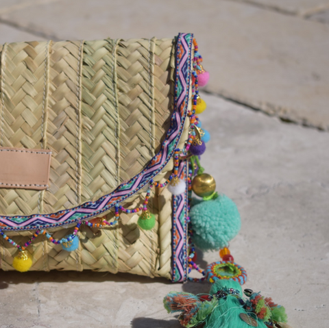 Penelope Multicolor Pom Pom Trim Straw Clutch