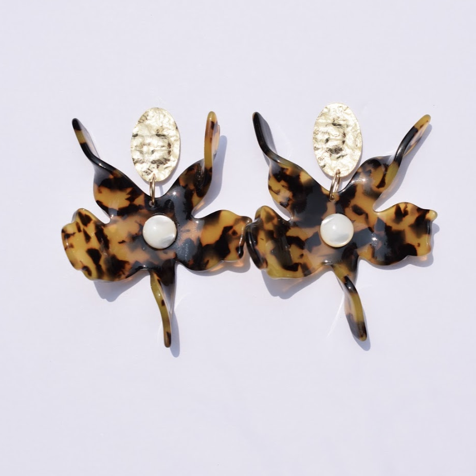 Wildflower Tortoise Acrylic Earrings - Oriana Lamarca LLC