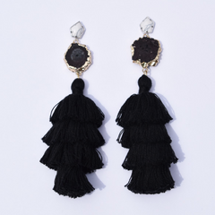 Tiffany Black Tassel Earring - Oriana Lamarca LLC