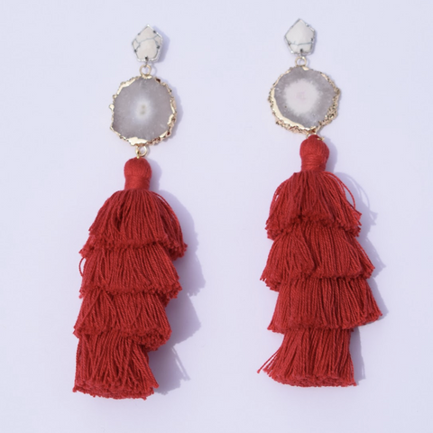 Tiffany Red Tassel Earring