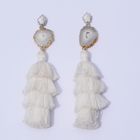 Tiffany White Tassel Earring