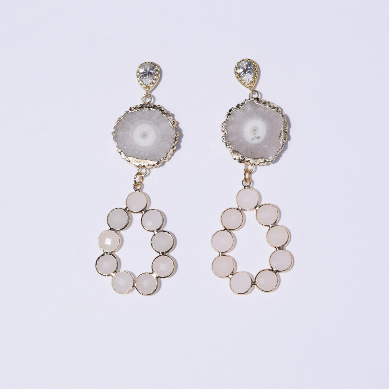 Whitney White Crystal Quartz Earrings - Oriana Lamarca LLC