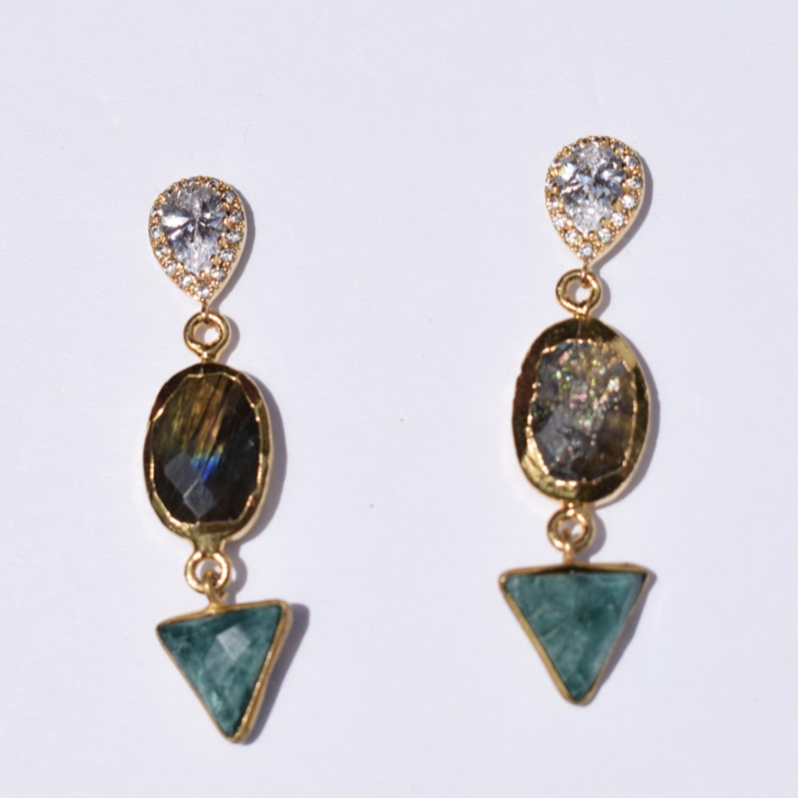 Nadine Labradorite and Emerald Drop Earrings - Oriana Lamarca LLC