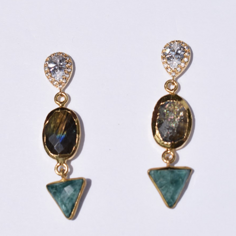 Nadine Labradorite and Emerald Drop Earrings