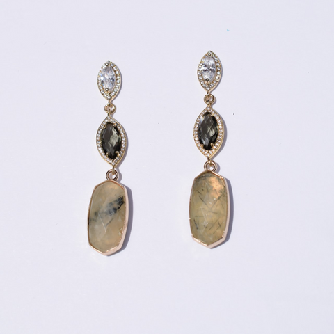 Ainsley Lemon Grass Quartz Drop Earrings