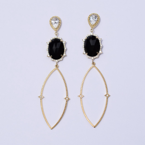 Nicole Black Pavé Drop Gold Earring