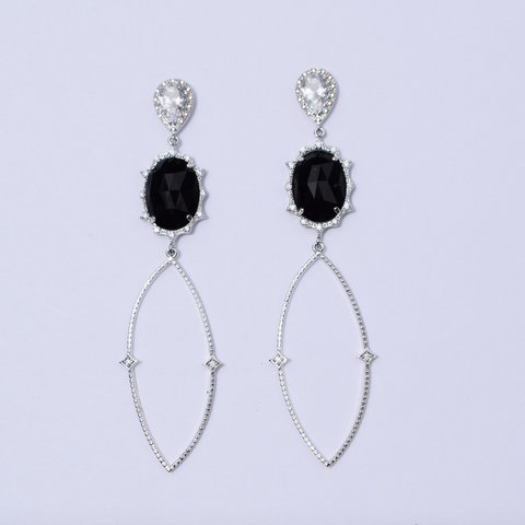 Nicole Black Pavé Drop Silver Earring