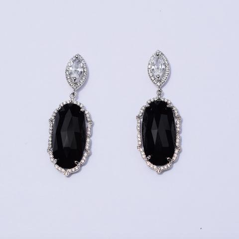 Camille Black Drop Silver Earring