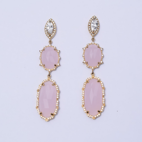 Rosie Pink Pavé Drop Gold Earring