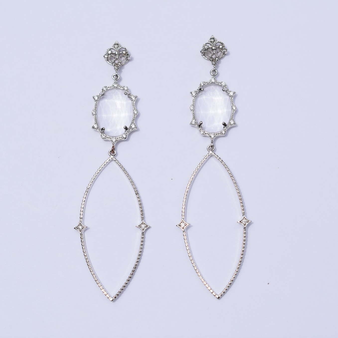 Sophie Clear Pavé Drop Silver Earring