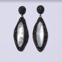 Madison Pavé Mother of Pearl Drop Earrings - Oriana Lamarca LLC