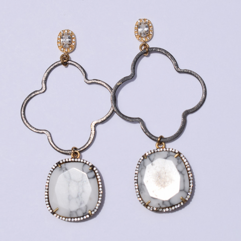 Kate Clover Drop Pavé White Howlite Earrings