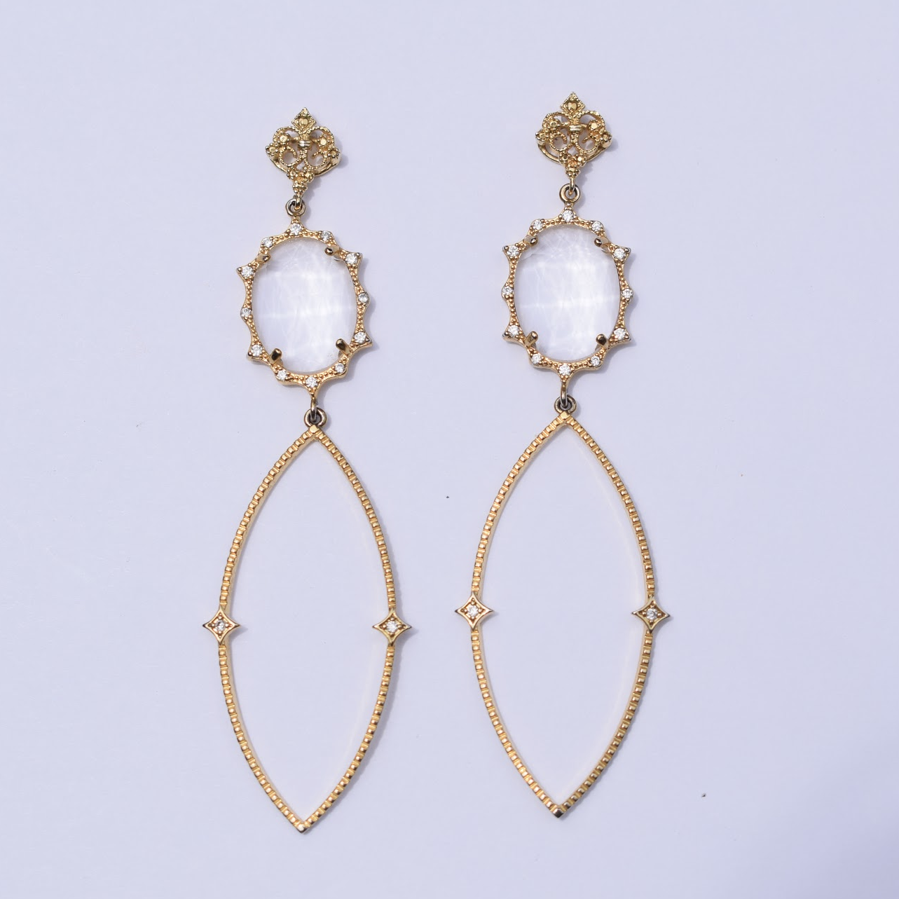 Sophie Clear Pavé Drop Gold Earring
