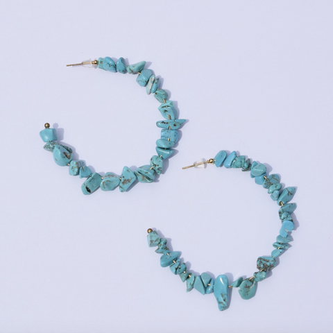 Scopello Turquoise Chips Gemstone Hoops