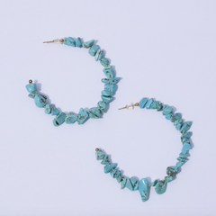 Scopello Turquoise Chips Gemstone Hoops - Oriana Lamarca LLC