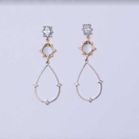 Estelle Clear Drop Silver Earring