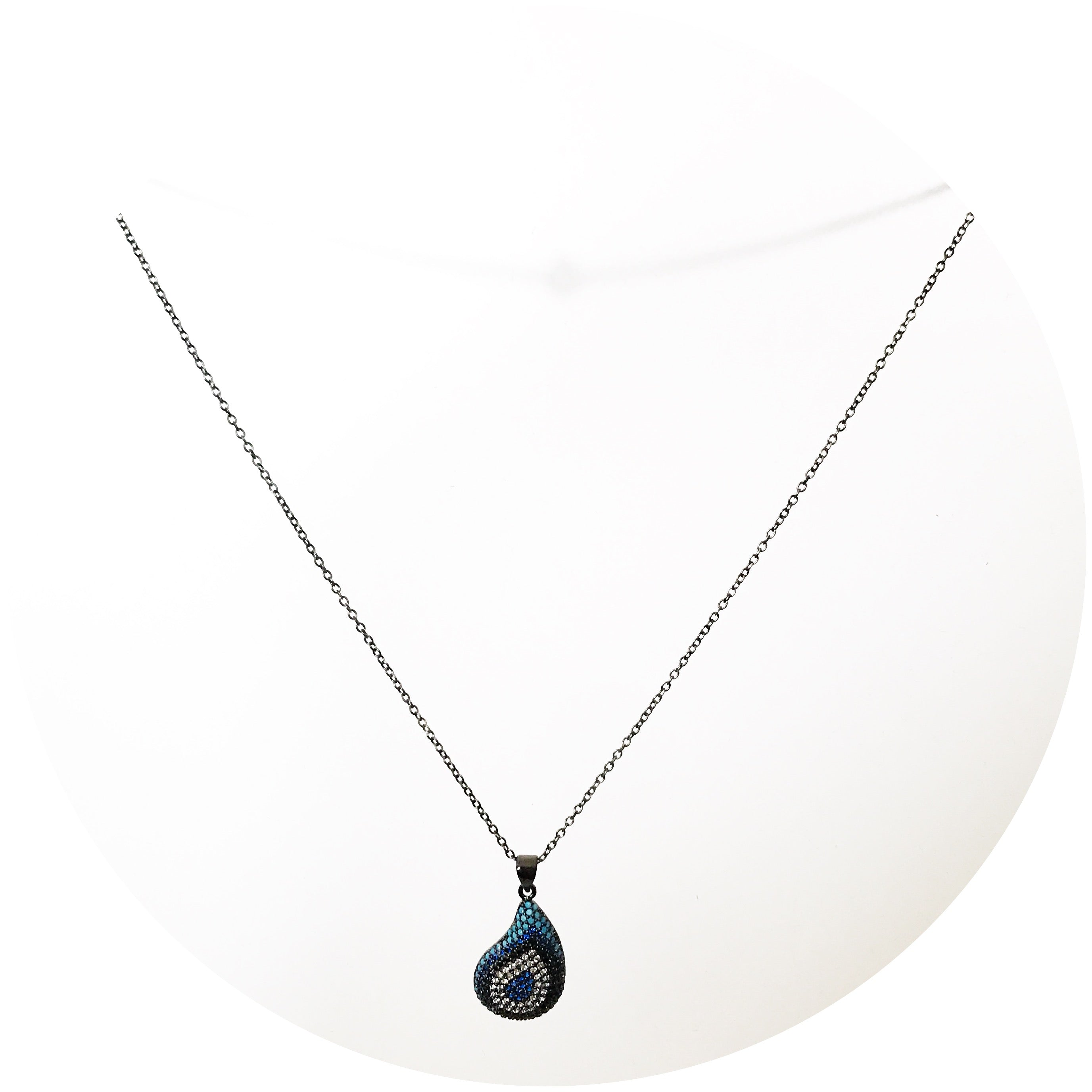 Pavé Turquoise Teardrop with Black Rhodium Chain