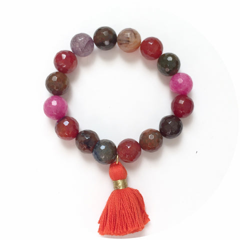Multicolor Agate with Orange Tassel