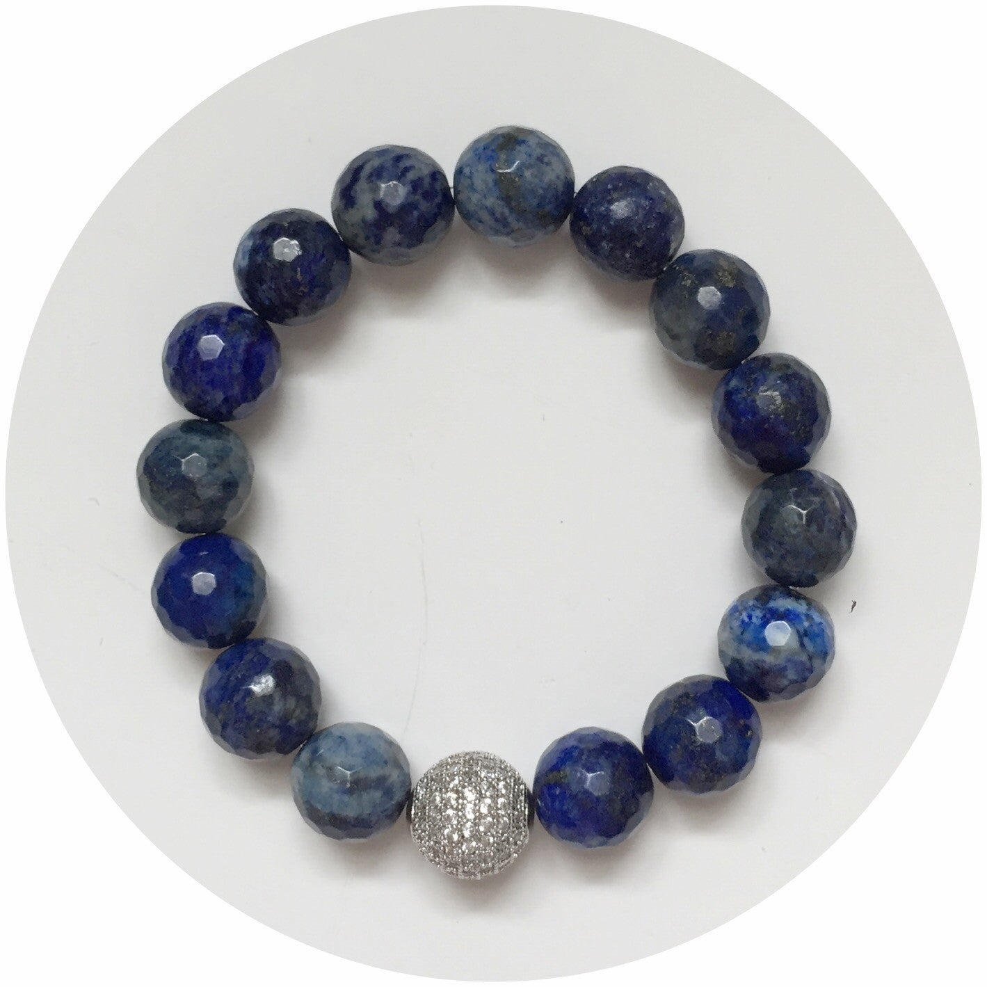 Lapis with CZ Micro Pavé Silver Accent - Oriana Lamarca LLC