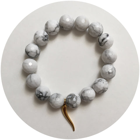 White Howlite with Italian Horn