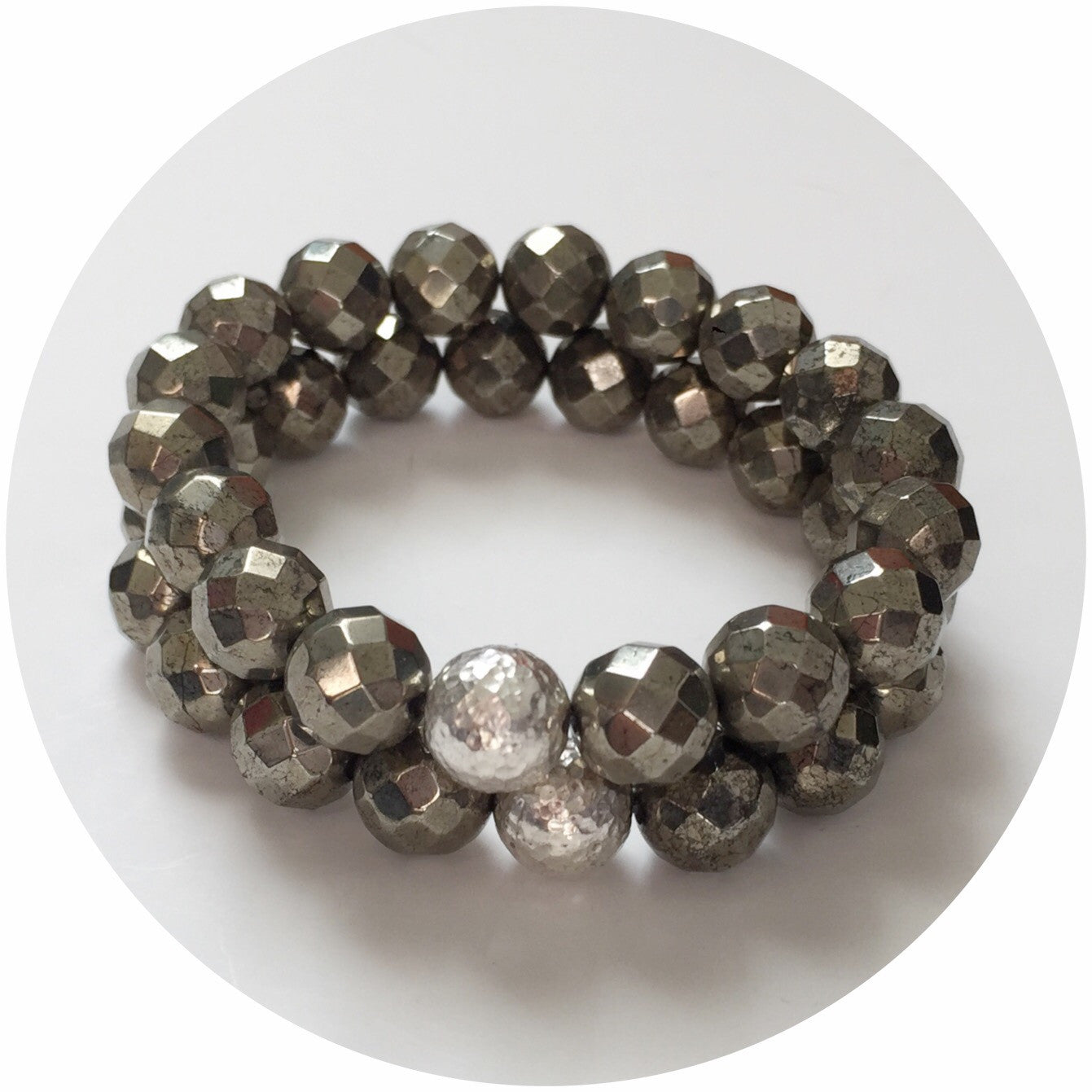 Pyrite with Hammered Sterling Silver Accent - Oriana Lamarca LLC