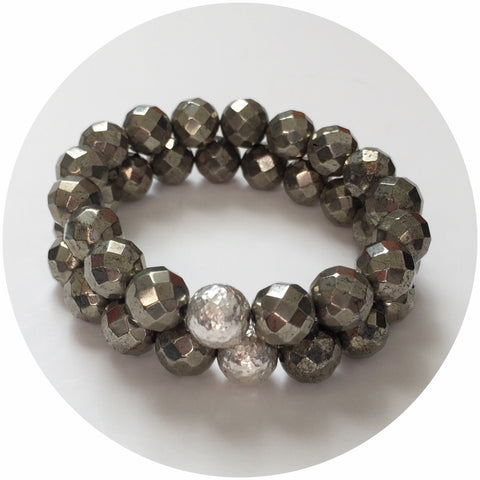 Pyrite with Hammered Silver Accent