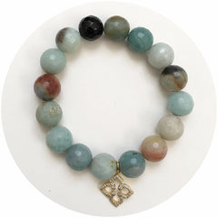 Amazonite with Pavé Gold Clover - Oriana Lamarca LLC