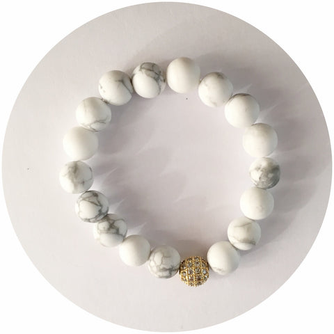 Mini White Howlite with Gold CZ Micro Pavé Accent *For NewBorns*