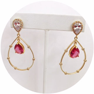 Adele Ruby Drop Gold Earring