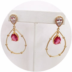 Adele Ruby Drop Gold Earring - Oriana Lamarca LLC