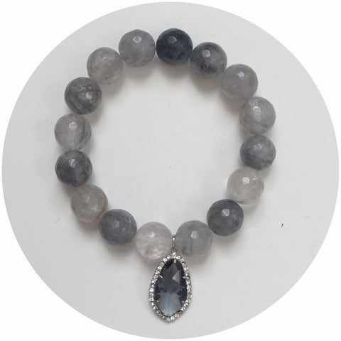Grey Quartz with Pavé Grey Glass Pendant