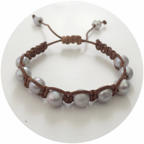 Natural Leather with Silver Pearl Shamballa Bracelet