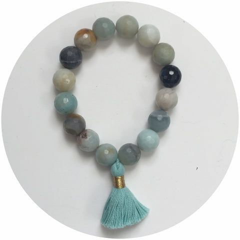 Amazonite with Mint Tassel