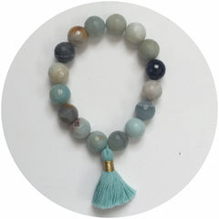 Amazonite with Mint Tassel - Oriana Lamarca LLC